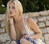 Charlotte Stokely Takes Off Her Jean Shorts And Teal Panties 7