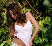 Cassia Riley Pulls Her Shirt Off Up Over Her Head 7