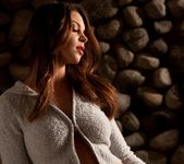 Amber Sym Slides Off Her Soft Grey Jacket 2
