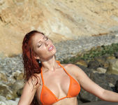 Erika Jordan - Orange G-string on the Beach 2