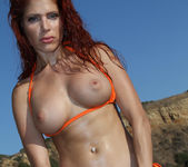 Erika Jordan - Orange G-string on the Beach 6