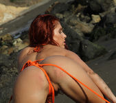 Erika Jordan - Orange G-string on the Beach 10