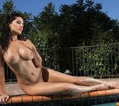 Sunny Leone - Sheer Gold & Red Bikini in the Pool 16
