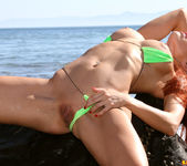 Erika Jordan - Skimpy Green Thong at the Beach 12