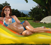 Heather Vandeven - Sheer Blue Micro Bikini and Toy 3