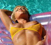 Christine Vinson - Fishnet Bikini and Pink Raft 6