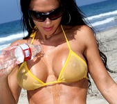 Rebecca Rayann - Sheer Gold Bikini at the Beach 2