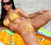 Rebecca Rayann - Sheer Gold Bikini at the Beach 6