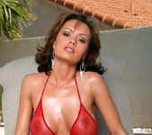 Crissy Moran - Red Fishnet Thong by the Pool 2