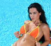Laura Lee - Sizzling Orange Thong Bikini & Toy 3