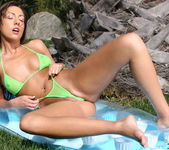 Tiffany Brookes - Green Thong on Raft 2