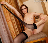 Kasey Warner Rubs That Cock With Her Black Stockings On 5