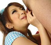 Aiko Nagai Asian babe in sexy dress sucks hard cock 4