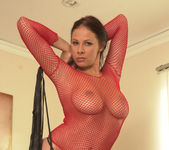 Gianna Micheals sexy as hell in red fishnet lingerie 7