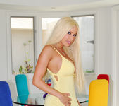 Gina Lynn Poses In Her Yellow Dress & Fucks 2