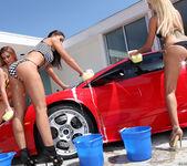 Pornstar Car Wash and Lesbian Group Sex 13