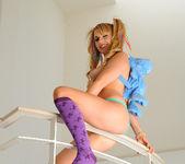 Lexi Belle Masturbating in Purple Pantyhose 13