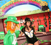 Brandy Talore Busting Out of a St Patrick's Day Uniform 5