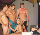 One hot blonde girl fuck five studs to get a job 13