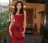Lucy Lee wearing a sexy red dress gets naked 2
