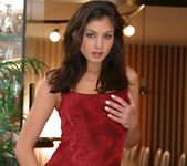 Lucy Lee wearing a sexy red dress gets naked 3