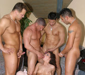 One hot brunette maid gets fucked by five hot studs 5