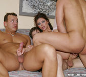 One hot brunette maid gets fucked by five hot studs 13