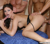 One hot brunette maid gets fucked by five hot studs 21