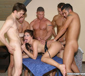 One hot brunette maid gets fucked by five hot studs 23