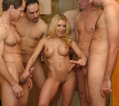 Busty Blonde Vivian West Swallows Cum 4