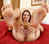 Petite Brunette Gives a Footjob and Rides the Cock 5