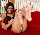Hot Black Chick Wraps Her Smooth Soles Around a Big Fat Cock 2