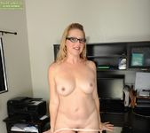 Sable Knight blonde milf with glasses spreads her pussy 6
