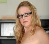 Sable Knight blonde milf with glasses spreads her pussy 8