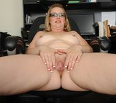 Sable Knight blonde milf with glasses spreads her pussy 16