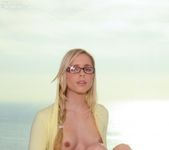 Nerdy Kara wearing her hot yellow hoody strips her panties 6