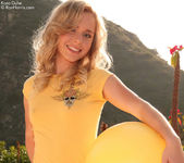 Kara plays outdoors gets horny peels off her dress 4
