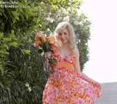 Charming Kara wearing her floral dress flashing her pussy 3