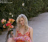 Charming Kara wearing her floral dress flashing her pussy 7