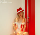 Lustful Kara in a christmas outfit wrapped with lights 5