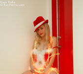 Lustful Kara in a christmas outfit wrapped with lights 11