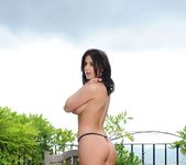 Coral May Hall strips from her black lingerie outdoors 8