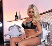 Stacey Robyn teasing in her black lingerie in the lobby 3