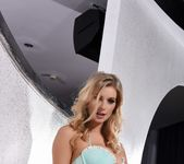 Jess Davies teases on the white sofa, in her lingerie 6