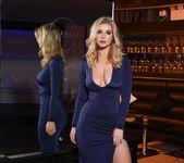 Jess Davies teasing in her blue slit dress and panties 2