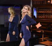 Jess Davies teasing in her blue slit dress and panties 3