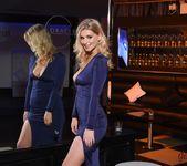 Jess Davies teasing in her blue slit dress and panties 4