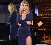 Jess Davies teasing in her blue slit dress and panties 5