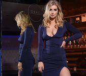 Jess Davies teasing in her blue slit dress and panties 6