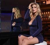 Jess Davies teasing in her blue slit dress and panties 7